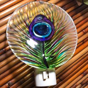 Glass peacock feather nightlight